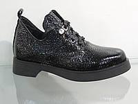 Стильные лаковые ботинки на байке со шнуровкой, фото 1