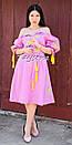 Платье открытые плечи, розовое платье вышиванка лен, платье в цыганском стиле, вишите плаття вишиванка, фото 2
