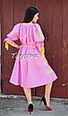 Платье открытые плечи, розовое платье вышиванка лен, платье в цыганском стиле, вишите плаття вишиванка, фото 4