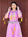 Платье открытые плечи, розовое платье вышиванка лен, платье в цыганском стиле, вишите плаття вишиванка, фото 9