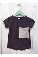Модная детская футболка асимметричного кроя, с сердечком на кармане