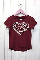 Бордовая подростковая футболка с модным принтом. размеры: 116-146