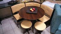 Кухонный уголок Боярин с круглым столом и двумя табуретами, Мягкий кухонный уголок