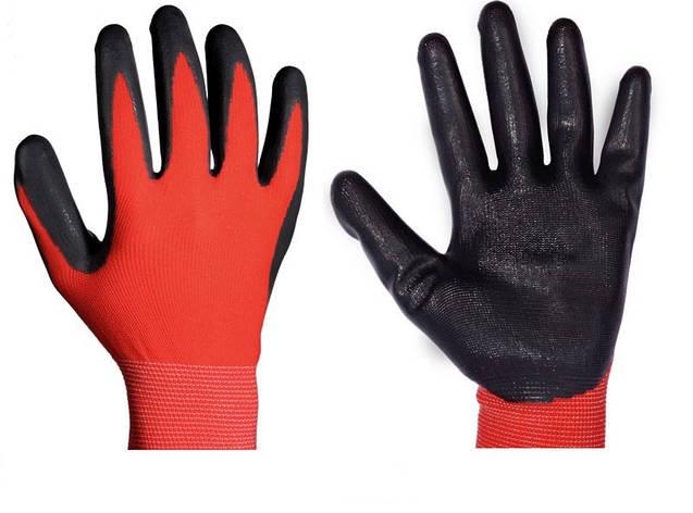 Перчатки рабочие стрейчевые покрытые гладким нитрилом (черный), фото 2