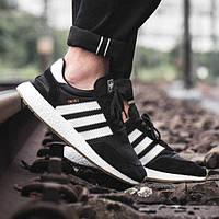 """Кроссовки мужские Adidas Iniki Runner Boost Black White """"Черные с белыми полосками"""""""