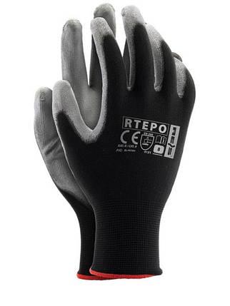 """Перчатки рабочие стрейчевая покрытая гладким нитрилом """"RTEPO"""" (Reis), фото 2"""