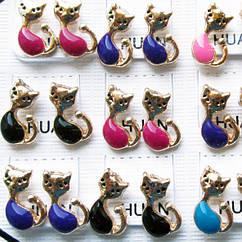 Сережки Пуссети Котики Різних Кольорів, Упаковка, на 12 пар, Біжутерія