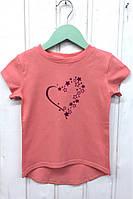Стильная детская футболка на девочку, с принтом сердечки. размеры: 86-110
