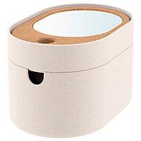 """ИКЕА """"САКСБОРГА"""" Коробка-косметичка с зеркальной крышкой, пластиковая пробка, 24x17 см."""