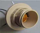 Патрон для люстр крем с резьбой  + провод Е14 GAV 427