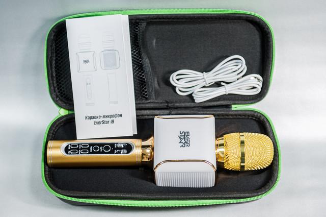 микрофон караоке EverStar i9 с функциями дуэт и фонограмма