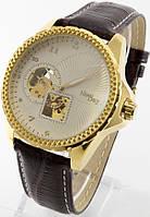 Мужские механические наручные часы New Day (золотой корпус, коричневый ремешок), фото 1