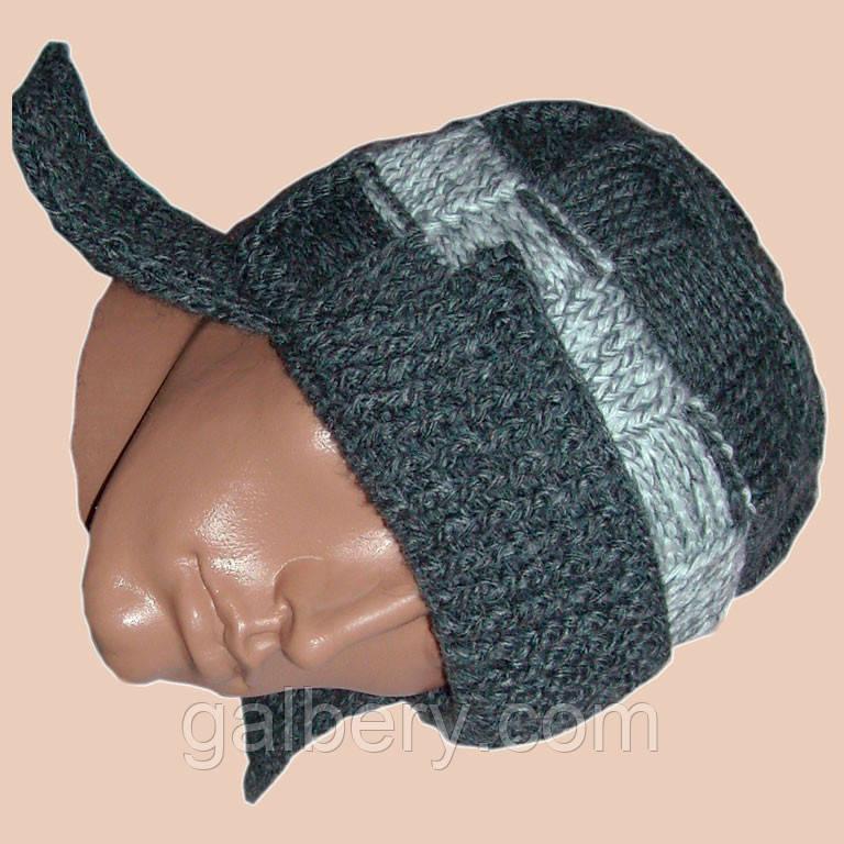 Мужская вязаная зимняя шапка-ушанка на подкладке