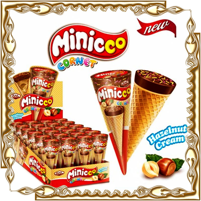 Рожок с шоколадной пастой Minicco арахис 15 гр. 24 шт.
