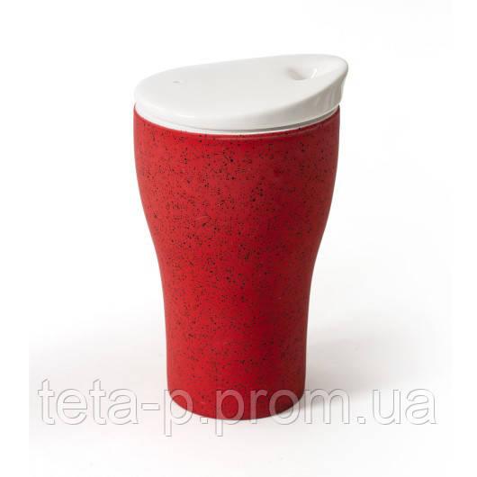 Чашка фарфоровая CORINA 400 мл двустенная с фарфоровой крышкой и прорезиненным покрытием