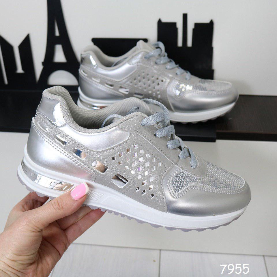 c5416eefed9f Кроссовки женские серебристые, модные, удобные, легкие, спортивная обувь  для бега - Интернет