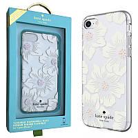 Прозрачный чехол для iPhone 7/8  с цветами и стразами Kate Spade new york Flexible Hardshell (KSIPH-054-HHCS-)