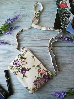 Сумочка-косметичка маленькие фиолетовые розочки, фото 2