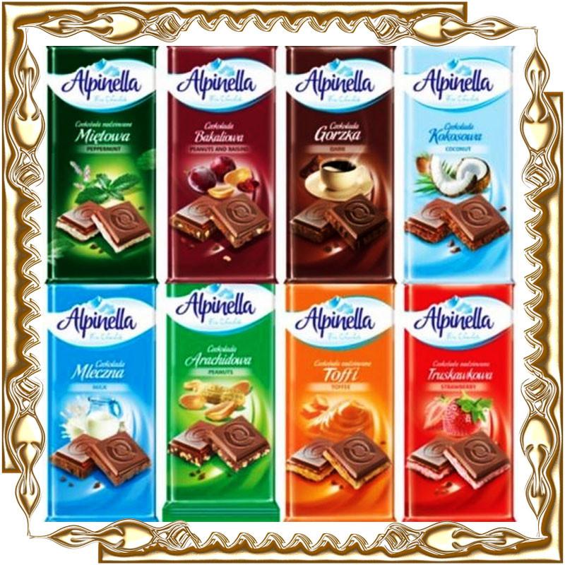 Шоколад Alpinella 90 гр. в ассортименте