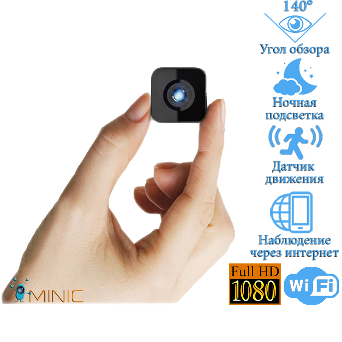 Wi-Fi мини камера HDQ13 с автономной работой до 5 часов, датчиком движения и ночной подсветкой