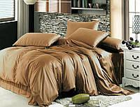 Семейный комплект постельного белья сатин однотонный, CARAMEL, фото 1