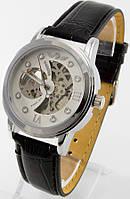 Мужские механические наручные часы Winner (белый циферблат, черный ремешок)