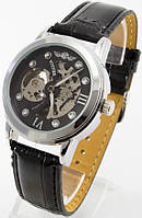 Мужские механические наручные часы Winner (черный циферблат, черный ремешок)