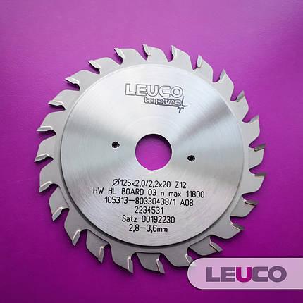 """125х2,8-3,6х2,2х20 z=12+12 Двухкорпусные подрезные дисковые пилы Leuco с регулировочными кольцами, """"F"""" зуб, фото 2"""