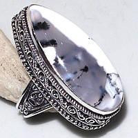 Кольцо с натуральным Дендроопалом (Моховым Опалом)
