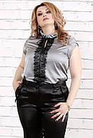 Красивая серая блузка для полных женщин 0785