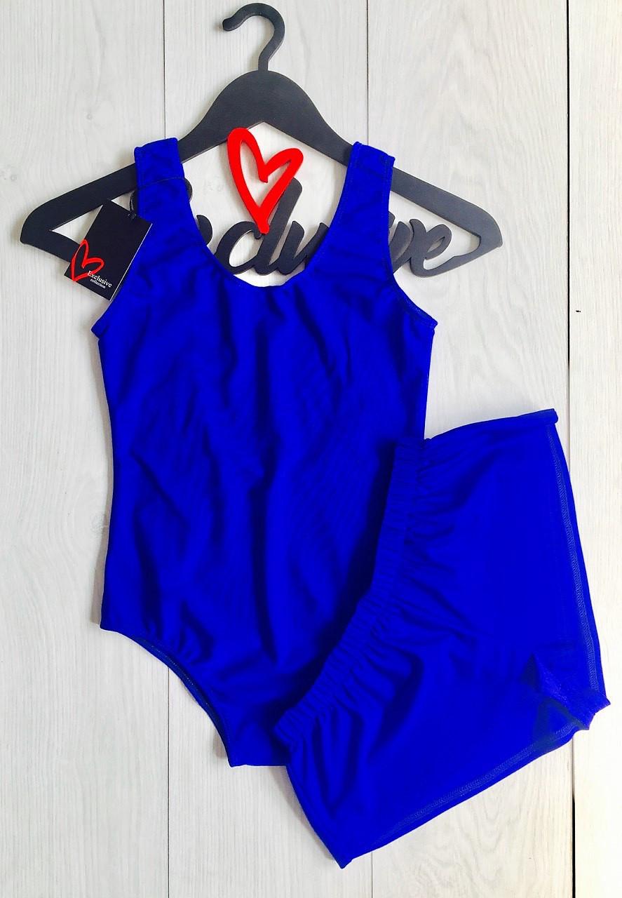 Цельный купальник-боди и шортики, однотонный летний комплект