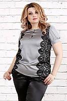 Шелковая серая блузка больших размеров 0786