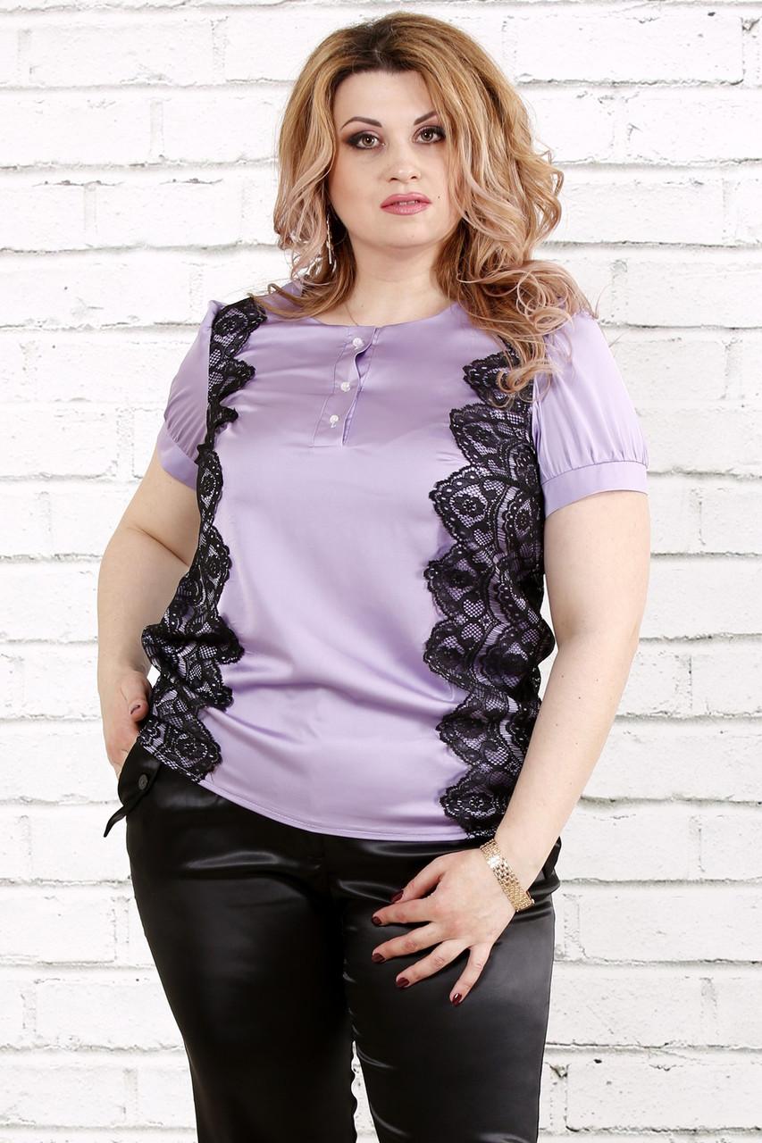 6016656d9c1b Сиреневая блузка из шелка для полных женщин 0786
