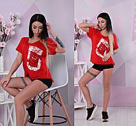 Женская стильная футболка с принтами (3 цвета)