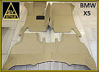 3D Коврики BMW X5 Кожаные (кузов Е70 / 2006-2013) Бежевые, фото 1