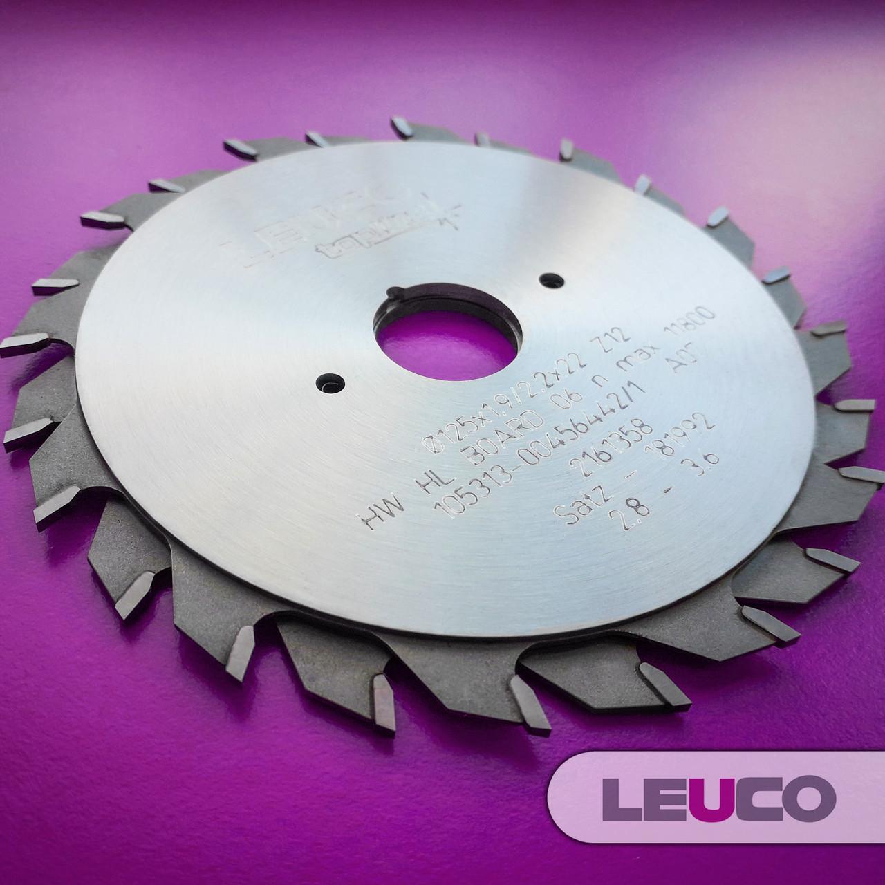 """Двухкорпусные подрезные дисковые пилы Leuco с регулировочными кольцами, 125х2,8-3,6х2,2х22 z=12+12, """"F"""" зуб"""