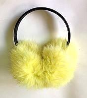 Меховые наушники кролик, желтые
