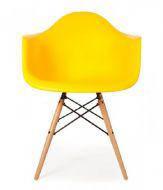Пластиковое кресло на деревянных ножках Тауэр Вуд, цвет желтый