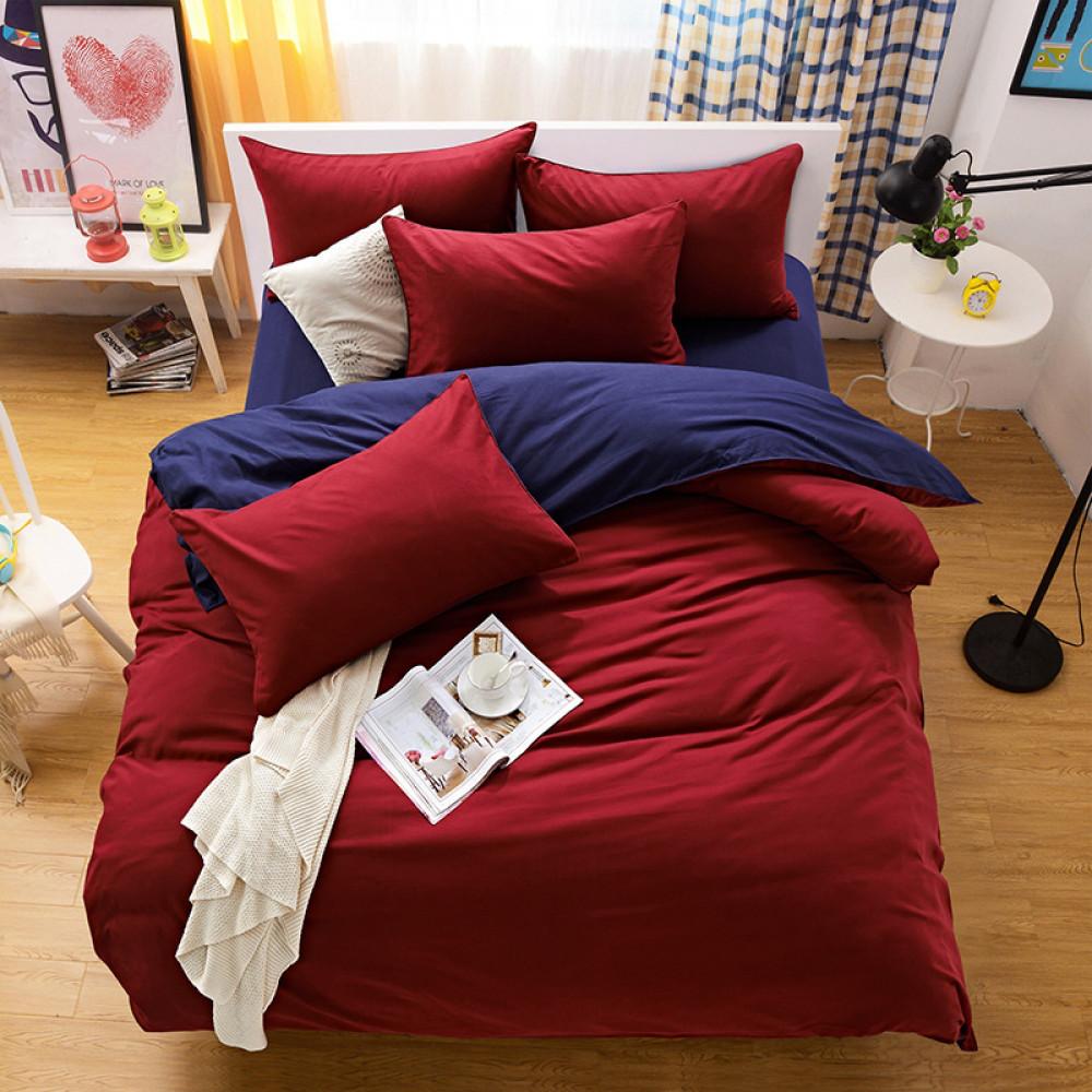 Семейный комплект постельного белья сатин однотонный, микс №23+№4052