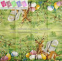 """Салфетка декупажная 21x21см 9 """"Пасхальный кролик.Пасхальные яйца"""""""