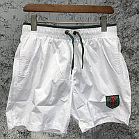 Шорты Gucci Swimming Trunks GG Supreme Crest Snake White, Реплика