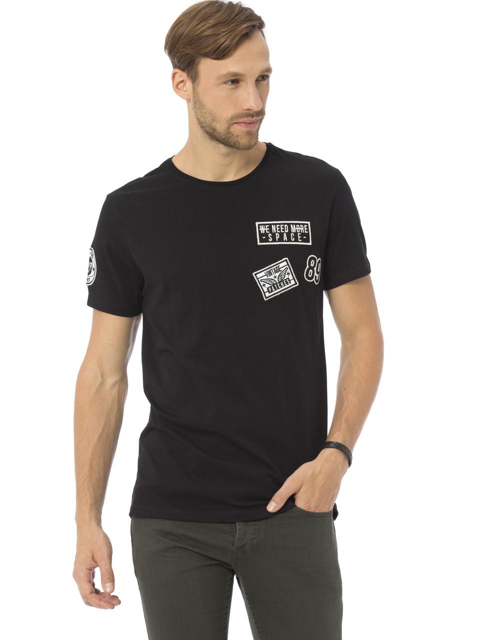 Черная мужская футболка LC Waikiki / ЛС Вайкики с надписью на груди