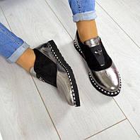 Модные женские туфли кожа+замша цвет серебро+черный