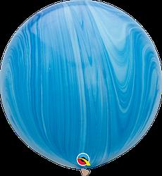Шар 30/75см Супер Агат Blue голубой Qualatex