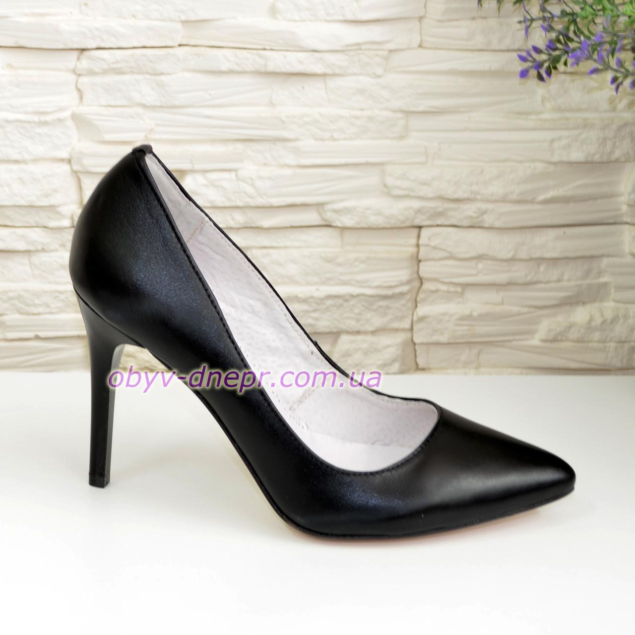 Туфли женские на высоком каблуке, черная кожа