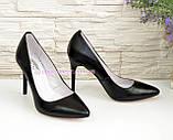 Туфли женские на высоком каблуке, черная кожа, фото 2