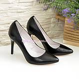 Туфли женские на высоком каблуке, черная кожа, фото 4