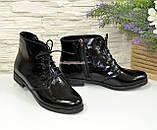 Ботинки женские лаковые на шнуровке, фото 2