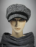 """Женская кепка из кашемира """"Арина"""" с черной полосой."""