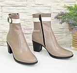 Женские кожаные демисезонные ботинки, цвет визон/беж, фото 2